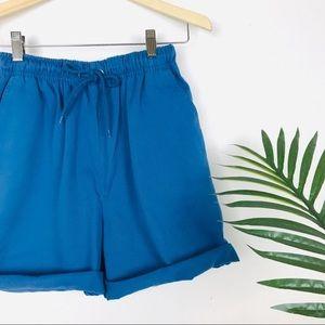 Vtg High Rise Drawstring Blue Basic Mom Shorts